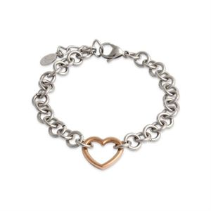 Picture of Silver with Rose Gold Heart Bracelet